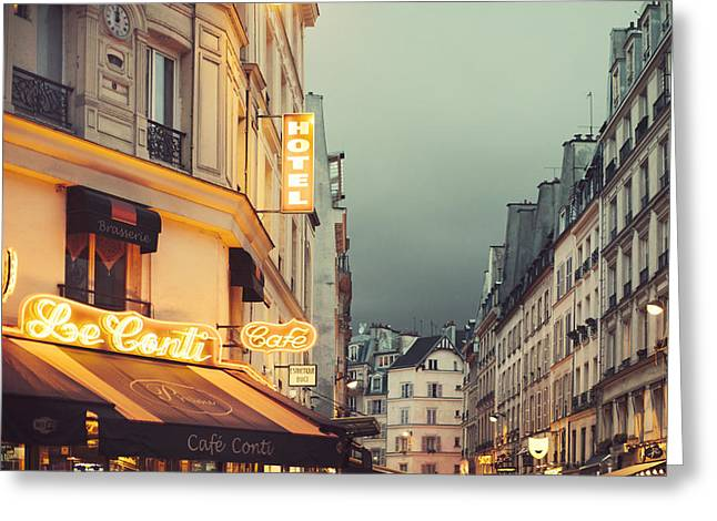 Cafe City Lights Greeting Cards - Neon Night Greeting Card by Irene Suchocki
