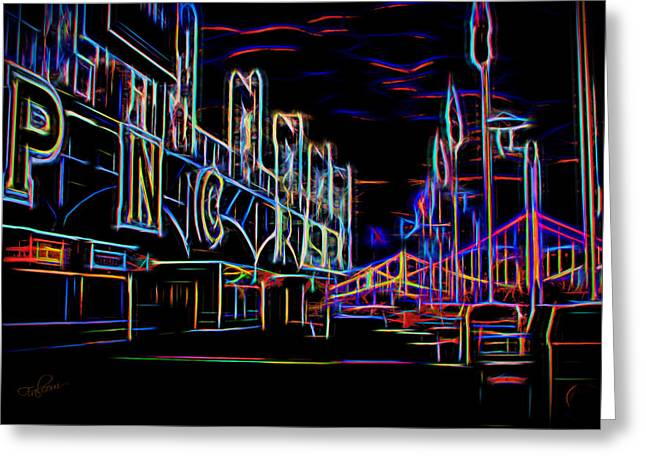 Pnc Park Digital Art Greeting Cards - Neon Nights At PNC Park 1 Greeting Card by Stephen Falavolito