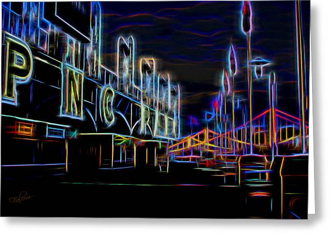 Pnc Park Digital Art Greeting Cards - Neon Nights At PNC Park 2 Greeting Card by Stephen Falavolito