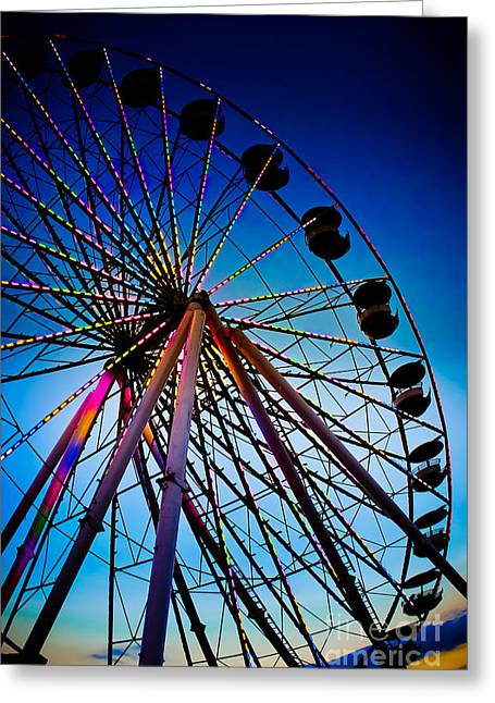 Ferris Wheel Night Photography Greeting Cards - Neon Nights - Ferris Wheel Greeting Card by Colleen Kammerer