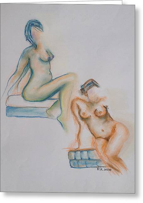 Calendar Pastels Greeting Cards - Neon Nudes Greeting Card by Donna Kerness
