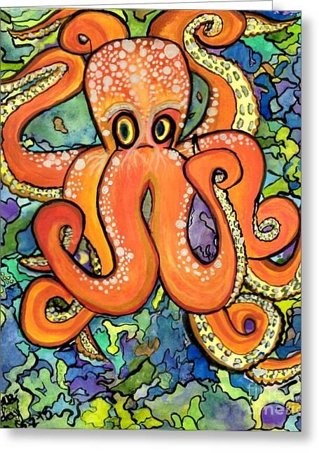 Mechanism Paintings Greeting Cards - Neon Octopus Greeting Card by Teresa Hay