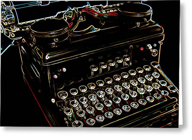 Typewriter Greeting Cards - Neon Old Typewriter Greeting Card by Ernie Echols