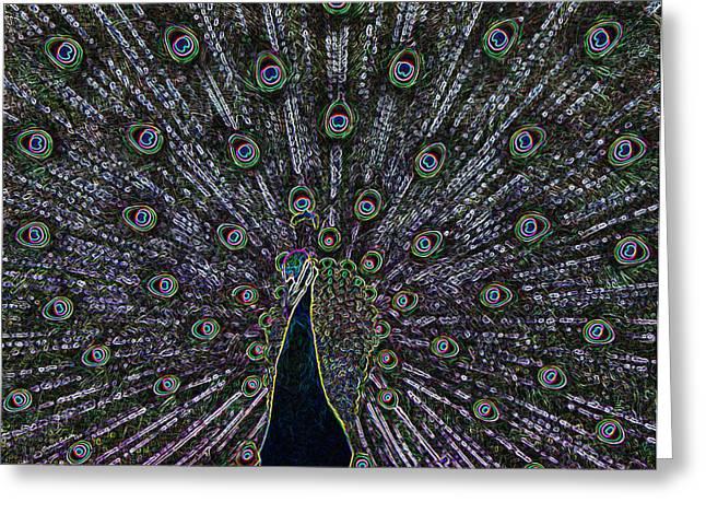 Bird Digital Art Greeting Cards - Neon Peacock Greeting Card by Ernie Echols