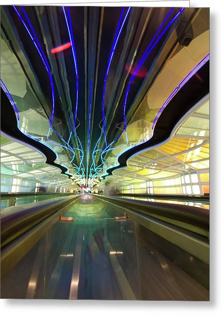 Hare Greeting Cards - Neon pedway Ohare 2 Greeting Card by Sven Brogren