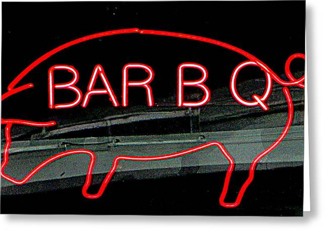 Pig Photographs Greeting Cards - Neon Pig Greeting Card by Randall Weidner