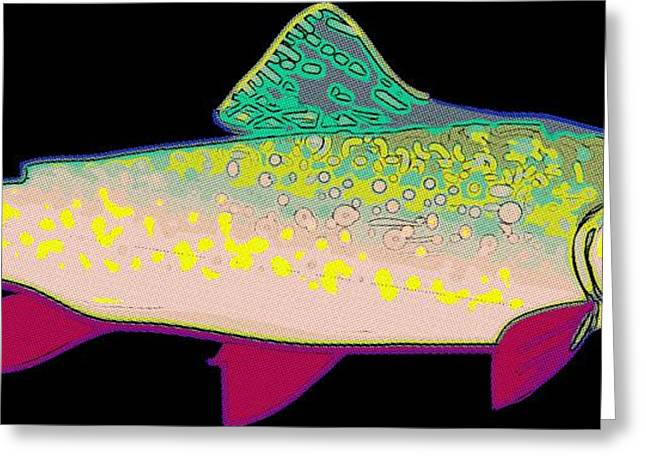 Rainbow Trout Greeting Cards - Neon Rainbow Trout Greeting Card by Florian Rodarte