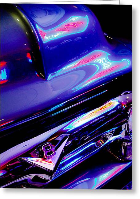Neon Reflections - Ford V8 Pickup Truck -1044c Greeting Card by Jill Reger