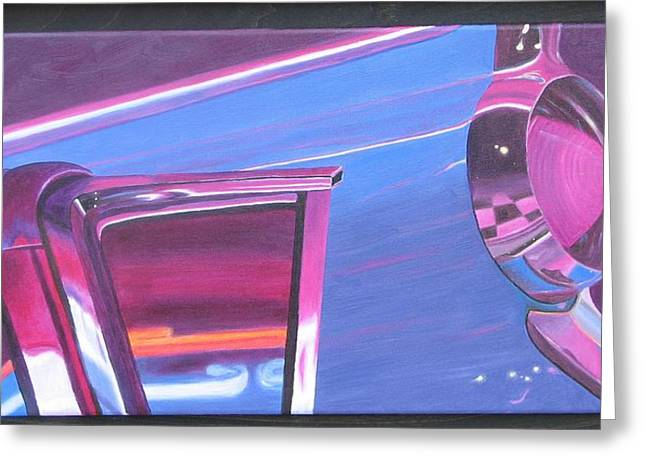 Keith Thue Greeting Cards - Neon Reflections III Greeting Card by Karin Thue