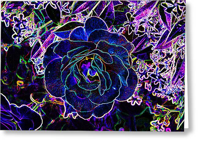 Chuck Staley Greeting Cards - Neon Rose Greeting Card by Chuck Staley