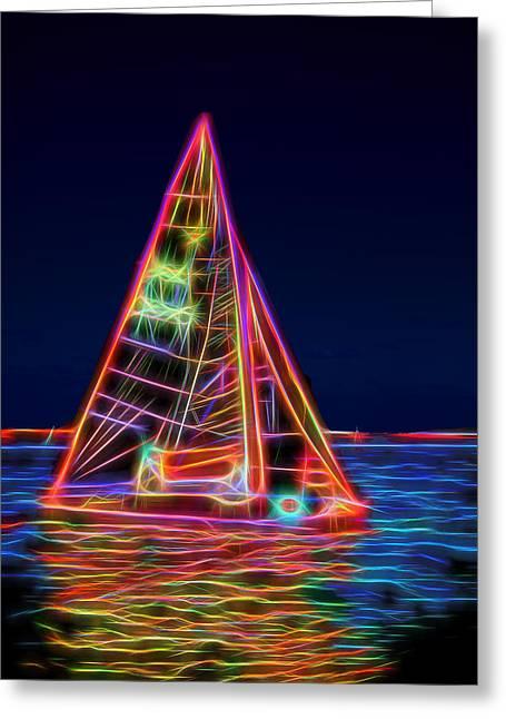Sailboat Images Greeting Cards - Neon Sailboat Greeting Card by David Smith