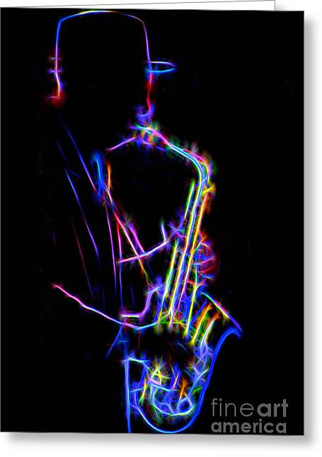 Playing Musical Instruments Greeting Cards - Neon Sax Greeting Card by Mark Miller