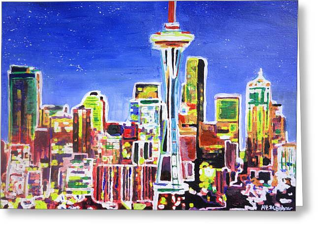 Seattle Skyline Greeting Cards Greeting Cards - Neon Shimmering Skyline of Seattle With Space Needle with Stars at Night  Greeting Card by M Bleichner