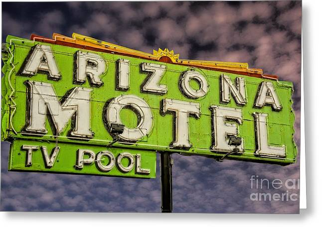Sixties Style Automobile Greeting Cards - Neon Sign Arizona Motel Greeting Card by Henry Kowalski