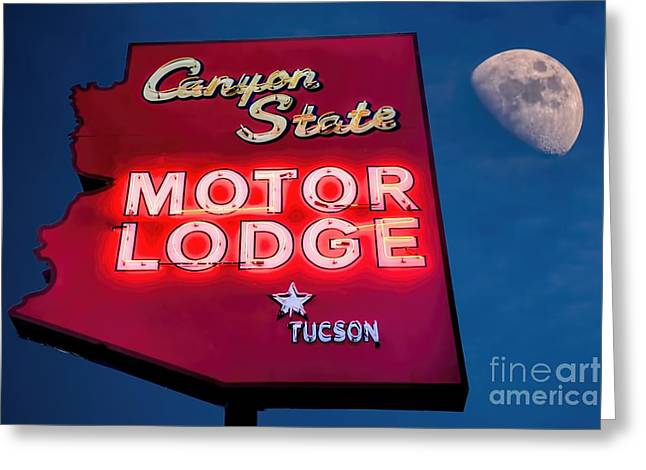 Sixties Style Automobile Greeting Cards - Neon Sign Canyon State Motor Lodge Greeting Card by Henry Kowalski