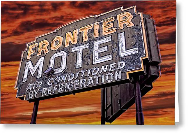 Sixties Style Automobile Greeting Cards - Neon Sign Frontier Motel Greeting Card by Henry Kowalski