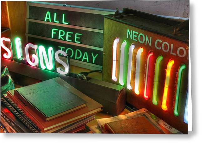 Neon Colors Greeting Cards - Neon Sign Greeting Card by Jane Linders
