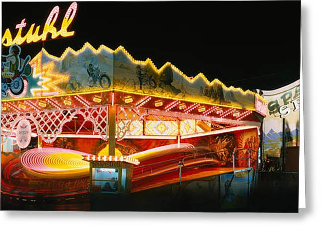 Festival Park Greeting Cards - Neon Sign Lit Up At Night, Oktoberfest Greeting Card by Panoramic Images