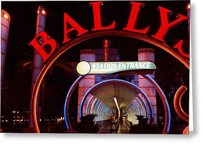 Las Vegas Greeting Cards - Neon Sign Of A Hotel, Ballys Las Vegas Greeting Card by Panoramic Images