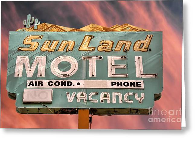 Sixties Style Automobile Greeting Cards - Neon Sign Sun Land Motel Greeting Card by Henry Kowalski