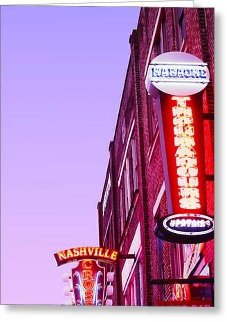 Nashville Panorama Greeting Cards - Neon Signs At Dusk, Nashville Greeting Card by Panoramic Images