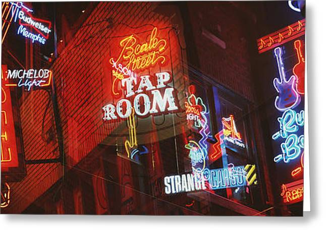 Tn Greeting Cards - Neon Signs, Beale Street, Memphis Greeting Card by Panoramic Images