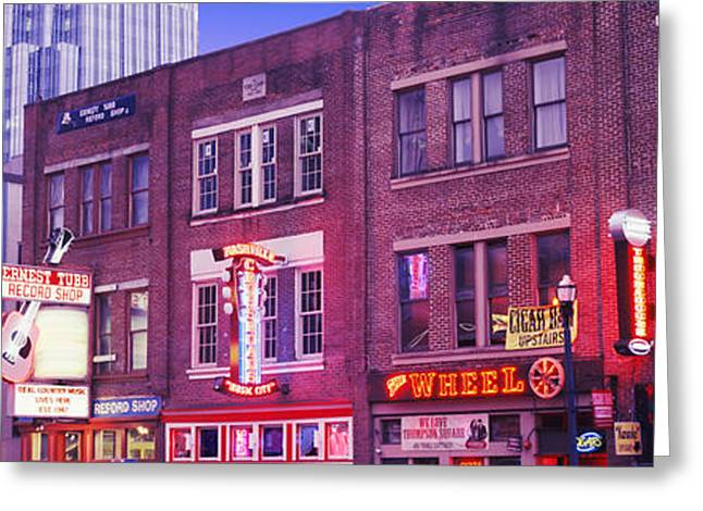 Nashville Panorama Greeting Cards - Neon Signs On Buildings, Nashville Greeting Card by Panoramic Images