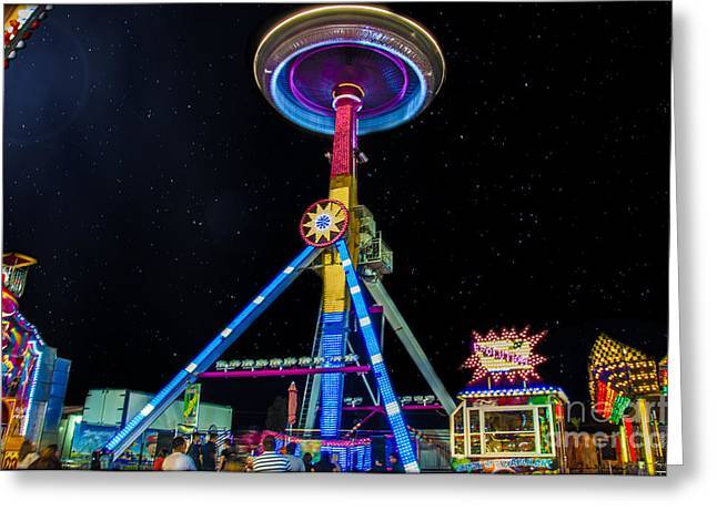 Arizona State Fair Greeting Cards - Neon Space Needle Greeting Card by Van Allen Photography