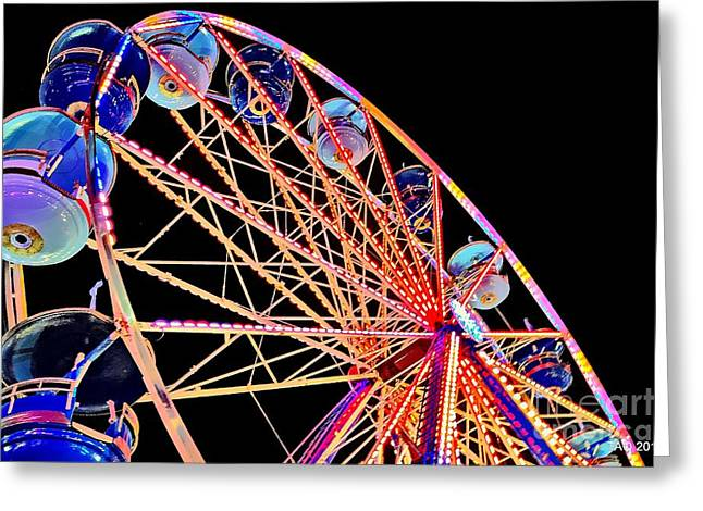 Weels Greeting Cards - Neon Spin Greeting Card by Tami Quigley