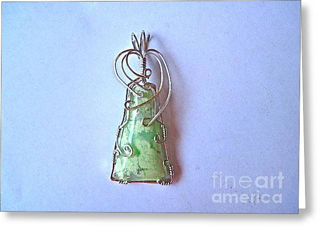 Wirework Jewelry Greeting Cards - Neon Variscite Natural Stone Pendant Greeting Card by Holly Chapman