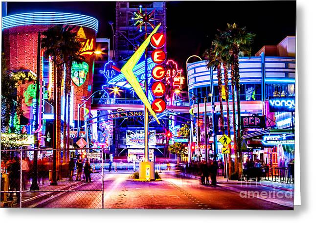 Hollywood Photographs Greeting Cards - Neon Vegas Greeting Card by Az Jackson