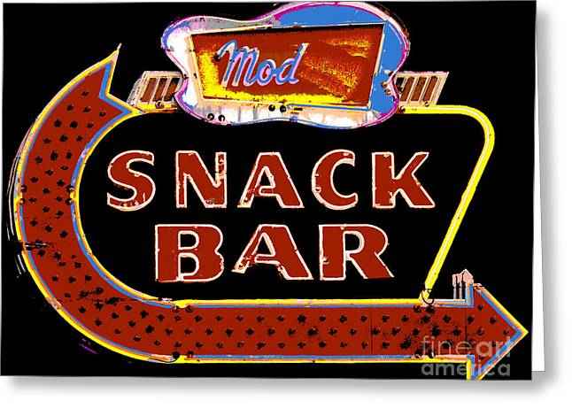 Snack Bar Greeting Cards - Neon Vintage Snack Bar Sign Greeting Card by ArtyZen Studios