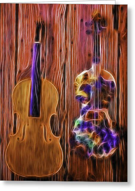 Conceptual Abstraction Greeting Cards - Neon Violins Greeting Card by Garry Gay