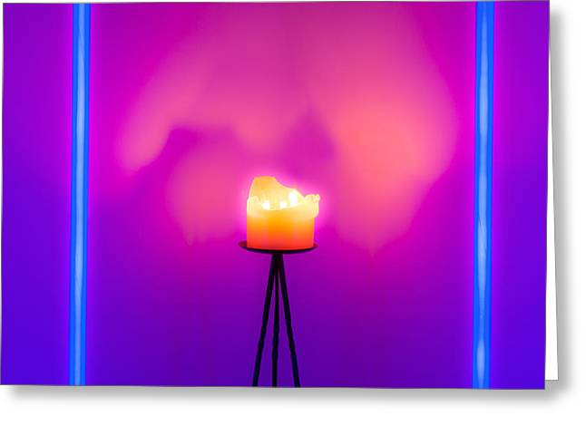 Fluorescent Yellow Greeting Cards - Neon vs Candle Greeting Card by Semmick Photo