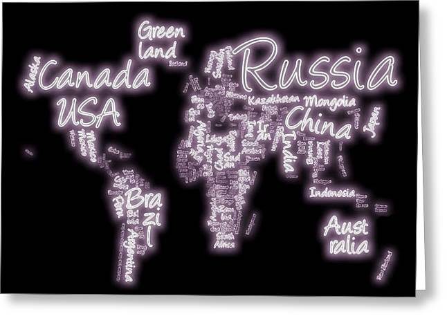 Planet Map Greeting Cards - Neon World Text Map Greeting Card by Dan Sproul