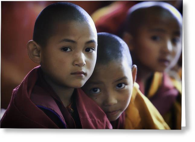 Monk-religious Occupation Greeting Cards - Nepal Young Monks Greeting Card by David Longstreath
