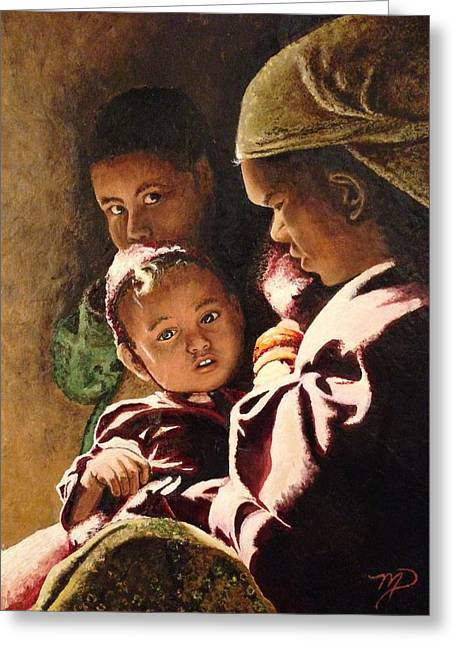 Mahogany Red Greeting Cards - Nepali Mother and Children Greeting Card by Meghan Pasquariello