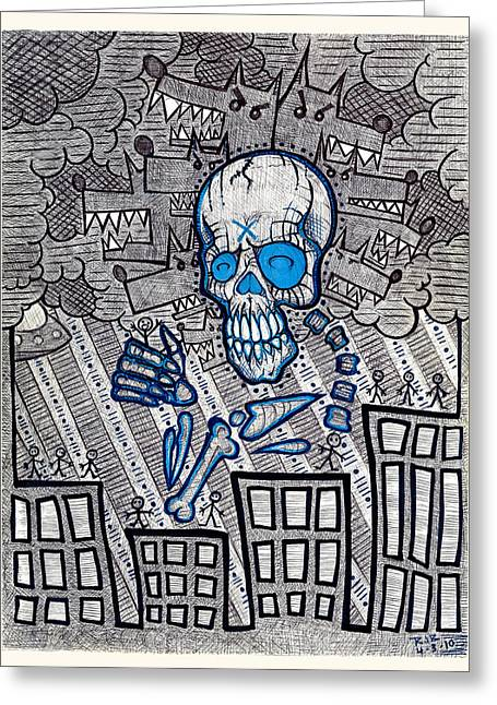 Treatment Mixed Media Greeting Cards - Nephilim  Greeting Card by Josh Brown