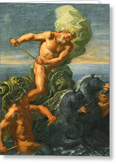 Sea Horse Greeting Cards - Neptune and his Chariot of Horses Greeting Card by Domenico Antonio Vaccaro