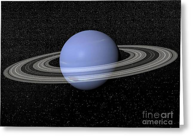 Neptune And Its Rings Against A Starry Greeting Card by Elena Duvernay