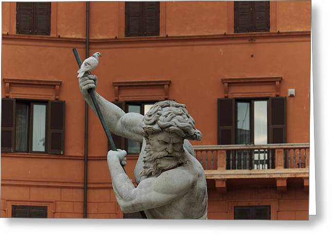 Sienna Italy Greeting Cards - Neptune and the Dove - Fountain of Neptune Piazza Navona Rome Italy Greeting Card by Georgia Mizuleva