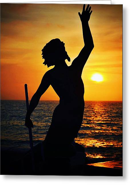 Greek Sculpture Greeting Cards - Neptune at Dusk Greeting Card by Natasha Marco