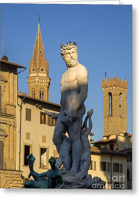 Renaissance Sculpture Greeting Cards - Neptune Statue - Florence Greeting Card by Brian Jannsen
