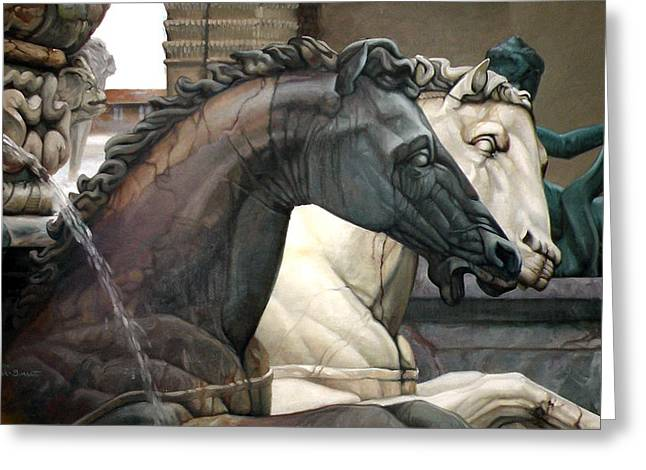 Marble Sculptures Greeting Cards - Neptunes Chargers Greeting Card by Kathleen English-Barrett