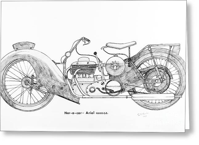 Restoration Drawings Greeting Cards - Ner - a - car Ariel 1000 c.c. Greeting Card by Stephen Brooks