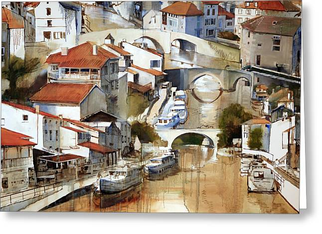 France Doors Paintings Greeting Cards - Nerac France Greeting Card by Shirley  Peters