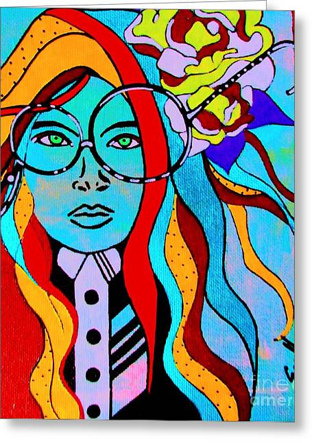 Punky Greeting Cards - Nerdy Gal Greeting Card by Amy Sorrell