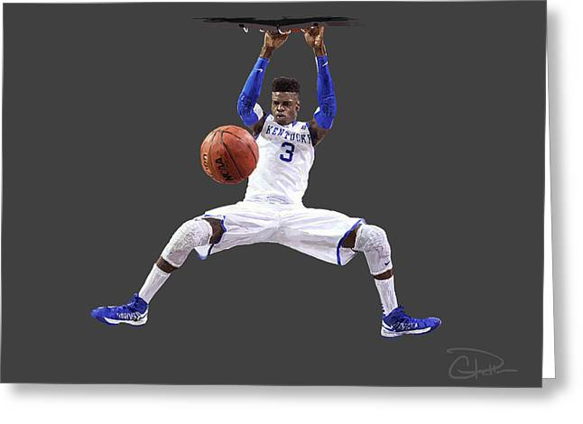 Nike Greeting Cards - Nerlens Greeting Card by Charley Pallos