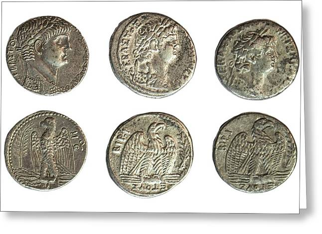Nero Silver Tetradrachm Coins Greeting Card by Photostock-israel