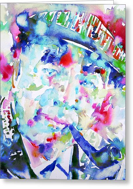 Pablo Paintings Greeting Cards - PABLO NERUDA - watercolor portrait.2 Greeting Card by Fabrizio Cassetta